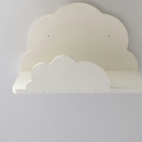 2 x Nursery Cloud Shelves Hand Made Painted Annie Sloan Old White Wall Paint