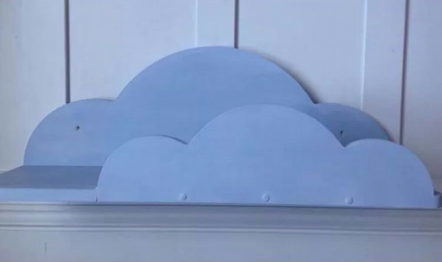 Nursery Cloud Shelf Han Made and Painted Annie Sloan Louis Blue 70 cms Wide New