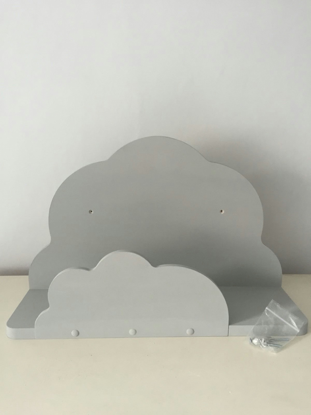 Nursery Cloud Shelf Hand Made Painted Annie Sloan Paris Grey New Solid Sturdy