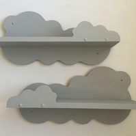 2x Nursery Cloud Shelf Hand Made Painted Annie Sloan Paris Grey New Solid Sturdy