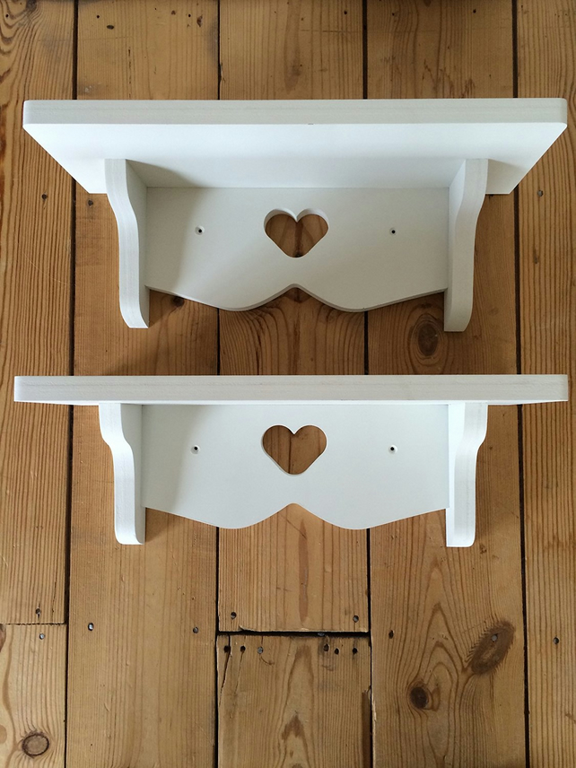 2 x Hand Made Heart Shelves Shabby Chic Painted White 40cms Each New