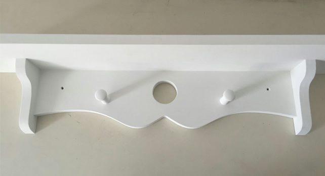 Hand Made Circle Peg Shelf kitchen Nursery Painted White With Shaker Pegs 80 cms