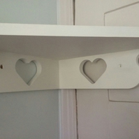 Shabby Chic Heart Corner Shelf Hand Made & Hand Painted White