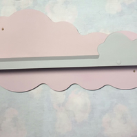 2 X Nursery Cloud Shelf Hand Made Annie Sloan Grey And Pink 50cms Wide