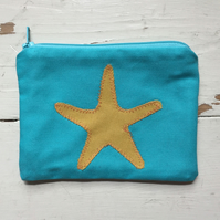 100% Turquise Cotton Applique Star Fish Purse