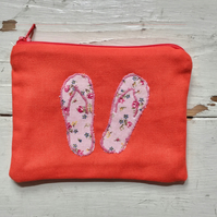 100% Orange Cotton Applique Flip Flop Purse