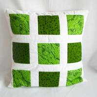 dark green patchwork accent pillow, white bedroom scatter cushion cover