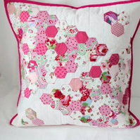 large pink patchwork hexagon cushion cover, feminine bedroom accent pillow slip