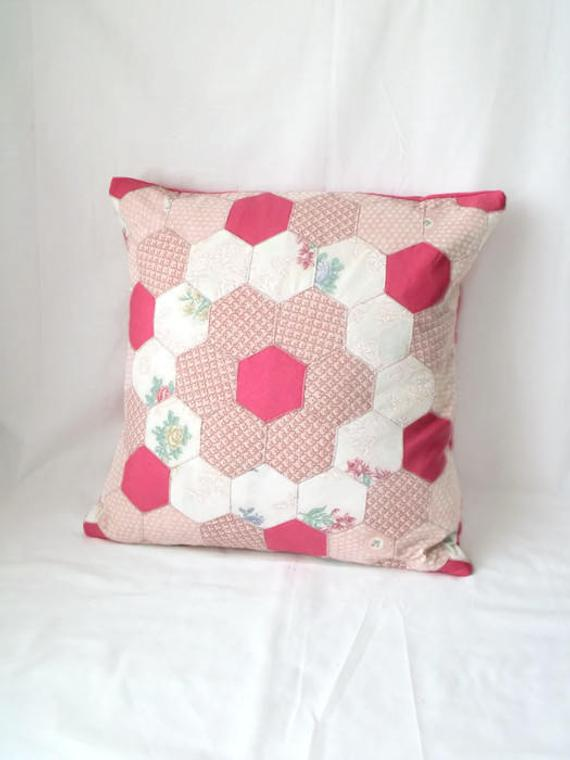 vintage pink cottage chic style hexagon patchwork cushion cover, pillow slip