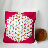pink bird hexagon patchwork scatter cushion cover for bird lovers, pillow slip