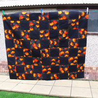 black and orange pumpkin halloween quilted sofa throw, 45 x 51 inches