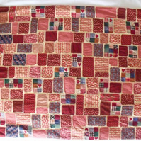 unique scrap fabric blanket, wheelchair throw, or a wall hanging, 29.5 x 39 inch