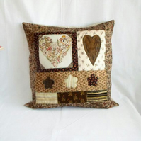large embroidered beige and gold heart cushion cover, patchwork pillow slip