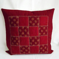 maroon patchwork quilted cushion cover, decorative accent pillow slip