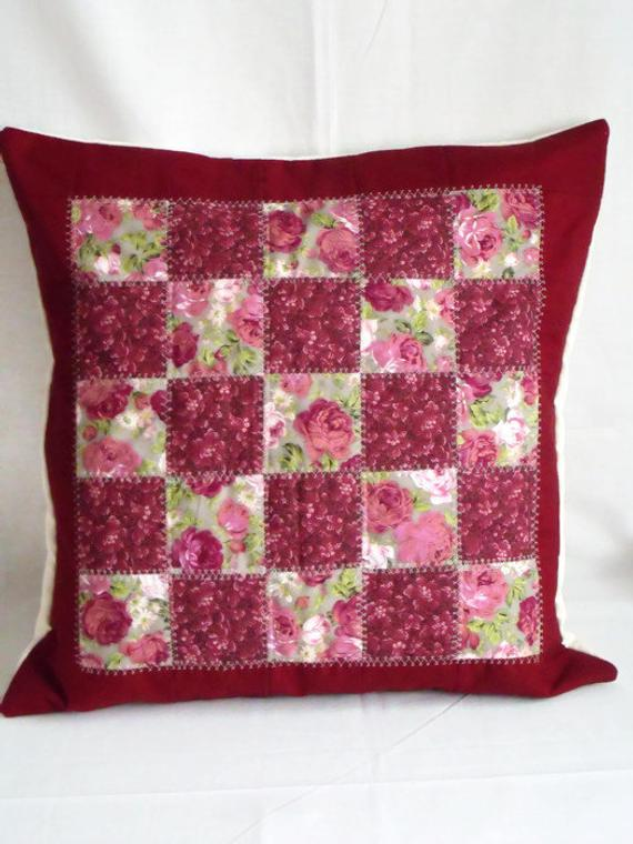 wine and floral unique patchwork quilted cushion cover, large statement pillow