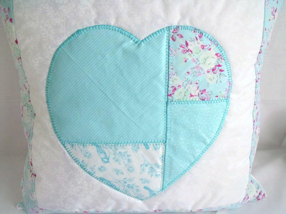 Applique heart qushion cover, turquoise quilted crisp clean pillow slip