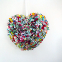 colourful large heart rag wreath, scrap cotton fabric hanging heart decoration