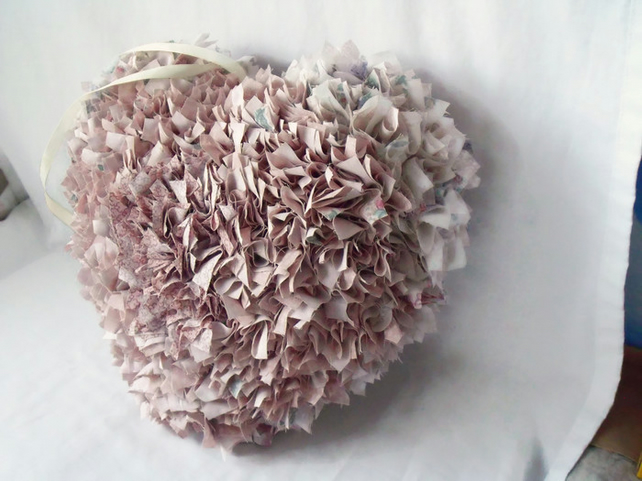 upcycled hanging heart rag wreath, big cottage chic hanging wall decoration