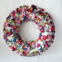 flat back circular rag wreath, scrap fabric round wall hanging decoration