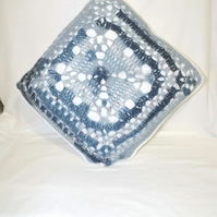denim square crochet pillow, variegated blue crocheted cushion