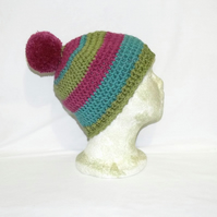multi coloured ladies winter hat, crocheted woolly pom pom beanie