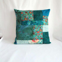 turquoise patchwork scatter cushion, quilted jade pillow slip, 16 x 16 inch