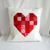 valentine red heart patchwork cushion cover, big statement accent pillow, 20 ""
