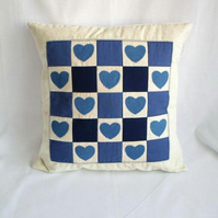 denim applique patchwork cushion cover, blue quilted hearts pillow slip, 16 x 16