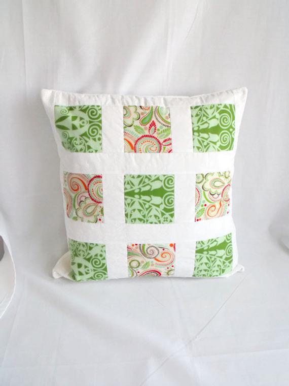 bright summery patchwork cushion cover, crisp clean green pillow slip