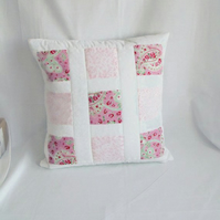 pink window pane patchwork cushion cover, white quilted statement pillow slip