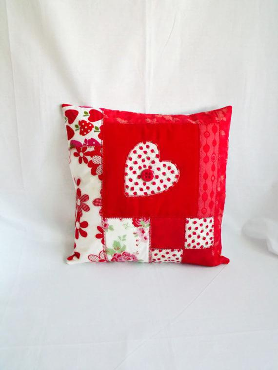 red heart patchwork applique cushion cover, valentines day pillow slip