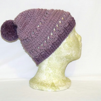 merino lilac crocheted beanie, pure wool ladies winter pom pom slouch hat