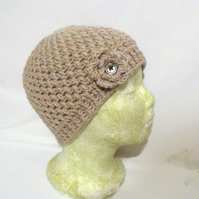 merino beige cloche hat, pure wool ladies flower beanie