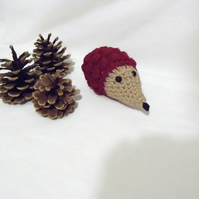 cute crocheted hedgehog pin cushion, small amigurumi hedgehog teddy