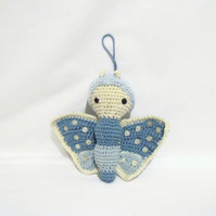 Decorative Lalylala hanging butterfly ornament, amigurumi blue butterfly