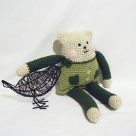 cute crocheted cat teddy, amigurumi green cat rag doll for all you cat lovers