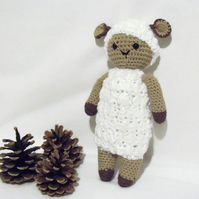 crocheted cotton sheep, white amigurumi farm animal