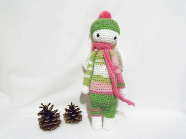 cute Lalylala green and pink crocheted amigurumi rabbit doll