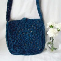 peacock green crocheted cotton granny square lined shoulder bag