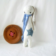 cute Lalylala snowflake white crocheted amigurumi rabbit doll