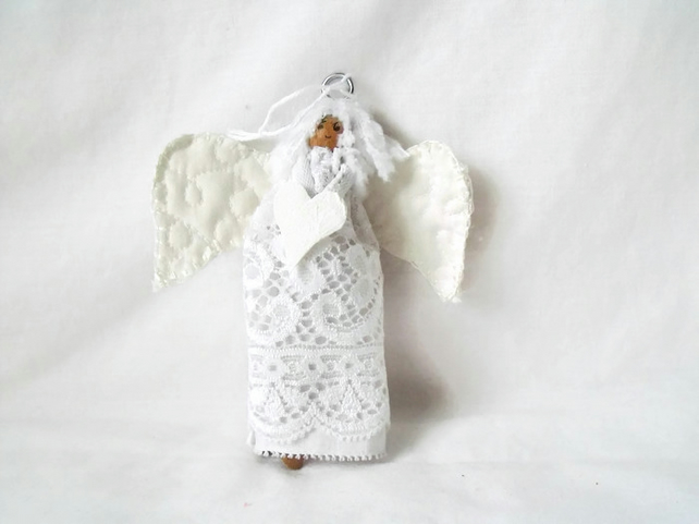 Two christmas hanging angels, lace peg dolls for christmas tree