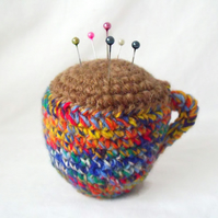 crocheted novelty tea cup pin cushion, amigurumi coffee cup pin tidy