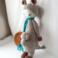 large crocheted Lalylala kangeroo and baby joey, mum and baby amigurumi