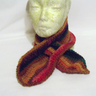 pure wool multi coloured scarfette neck warmer, short crocheted tippet scarf