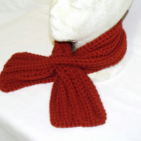 burnt orange crochet scarfette, crocheted short tippet scarf
