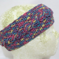 lilac crocheted cable headband, crochet yoga ear warmers