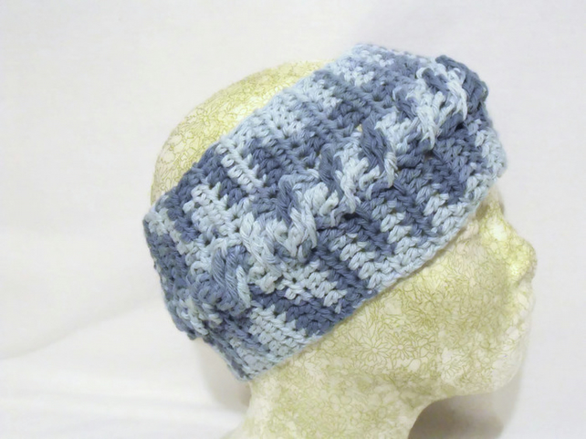 Blue Cotton Crocheted Ear Warmers Crochet Cabl Folksy
