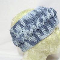 blue cotton crocheted ear warmers, crochet cable headband