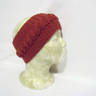 burnt orange merino crochet cable head band, crocheted ear warmers