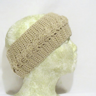 beige cotton crocheted head band, crochet cable ear warmers in a large size.
